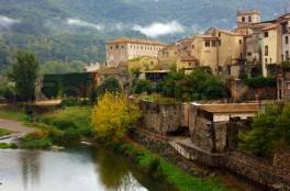 Landscape of medieval town of Besalu, Catalonia. Spain